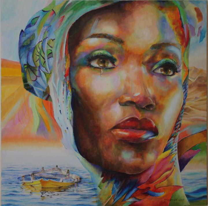 the-immigrant.jpg - Painting,  70x70x1.3 cm ©2017 by Frederick Gingell -                                                            Symbolism, Canvas, Portraits, painting, colour, immigrant, boat, drowning