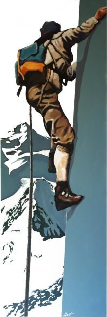 alpiniste - Painting,  59.1x19.7 in, ©2008 by Frédéric Leleu -