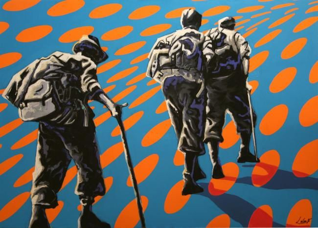 vintage alpinistes - Painting,  28.7x39.4 in, ©2008 by Frédéric Leleu -
