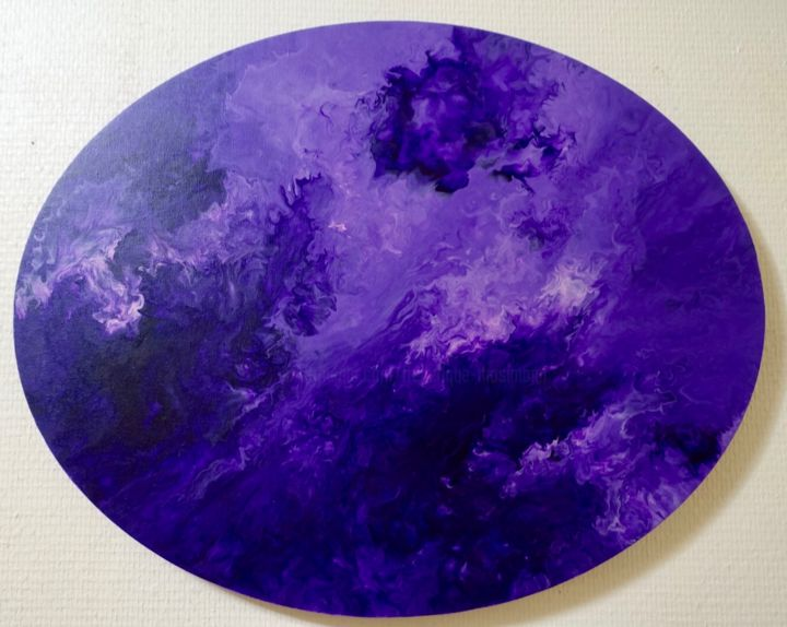 Ciel Démoniaque - Painting,  40x50x1.6 cm ©2019 by Frédérique Mosimann -                                                            Abstract Art, Cotton, Abstract Art, ciel, démoniaque, violet