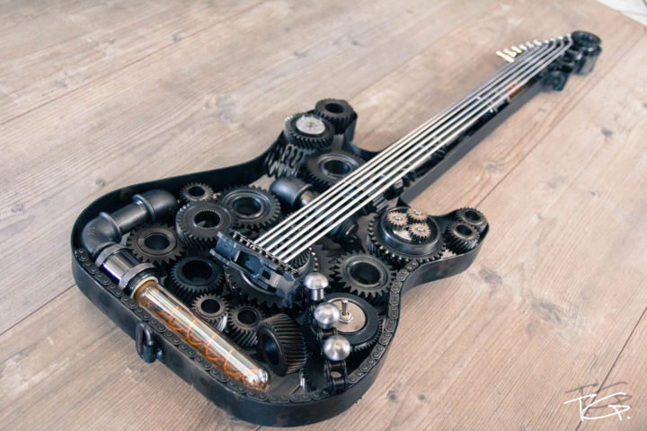 Guitare Metal Style Fender Stratocaster Lumineuse - Sculpture,  39.4x13.8x2 in ©2019 by Metal Art Factory -                                            Art Deco, Music, Guitare, metal, hard rock, musique, fender, stratocaster, art metal, rolling stones, nirvana, steampunk, deco, scrap metal, scraping, eclairage ambiance