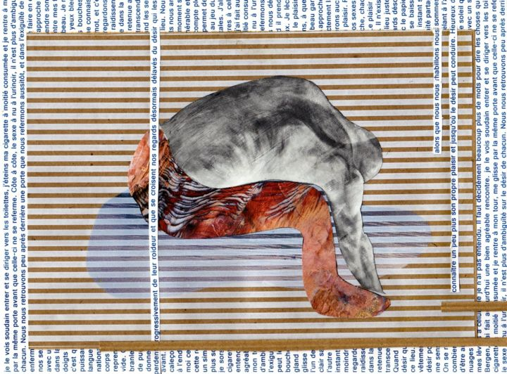 Théogonie 1 - La pissotière de Bergen - Collages,  7.1x9.5x0.1 in, ©2014 by Fredman -                                                                                                                                                                                                                                                                                                                                                                                                          Abstract, abstract-570, Abstract Art, Body, Collage, Rayure, Corps, Sexe