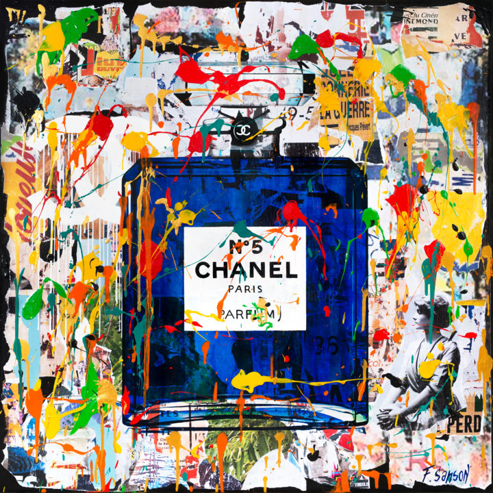 Chanel - Painting,  39.4x39.4x2 in, ©2020 by Frédérique Sanson -                                                                                                                                                                                                                                                                                                                                                              Street Art, street-art-624, Graffiti, Street Art, Chanel, Coulures, Collages
