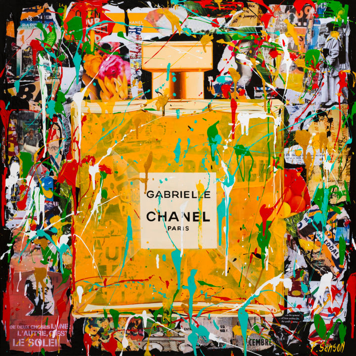 Gabrielle - Painting,  27.6x27.6x2 in, ©2020 by Frédérique Sanson -                                                                                                                                                                                                                                                                                                                                                          Street Art, street-art-624, Street art, Chanel, Gabrielle, Coulures, Collages