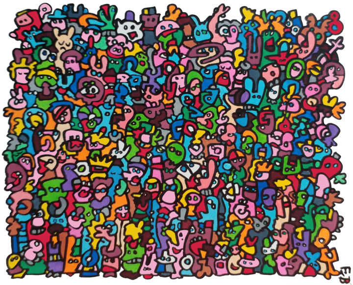 migrants - Painting,  18.5x21.7x0.8 in, ©2018 by Frob -                                                                                                                                                                                                                                                                                                                                                                                                                                                                                                                                                                                                                                                                                                                                                                                                                                                                                                                                                                                                                                                                                                                                                                                                                                  Figurative, figurative-594, Comics, Colors, World Culture, Portraits, heads, visages, faces, color, couleur, frob, acrylique, acrylic, painting, paint, french, migrant, immigration, cabeza, colores, people, gente, gens, figures, crozon