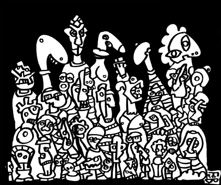 murakamos - Painting,  18.1x21.7x0.8 in, ©2016 by Frob -                                                                                                                                                                                                                                                                                                                                                                                                                                                                                                                                                                                                                                                                                                                                                                                                                                                                                                                                                                                                                                                                                                                                                                                                                                  Naive Art, naive-art-948, People, Love / Romance, Body, Business, characters, personnages, nez, visage, face, nose, black and white, noir et blanc, fron, peinture, painting, pintura, usine, factory, tools, outils, marteau, love, amour, machine