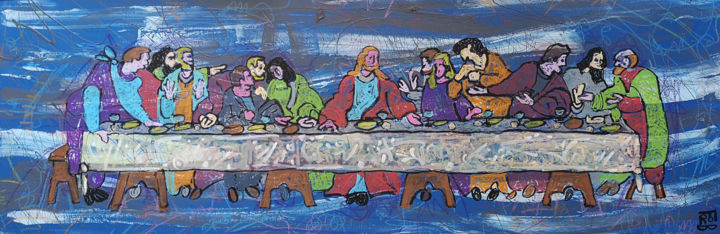 bretzsene - Painting,  40x120x2 cm ©2019 by FROB -                                                                                                                                                                                    Figurative Art, Street Art (Urban Art), Canvas, Performing Arts, Comics, Fairytales, Colors, Culture, Celebrity, History, Home, Food & Drink, Political figures, cene, leonardo, de vinci, la cène, italie, renaissance, florence, firenze, toscane, italia, painting, classic, jesus, apotres, religion, religious, repas, meal, table, street art, frob, tuscany, milan, milano, medicis, bread, sacred, sacre, saint, san, the Lord's Supper, lord