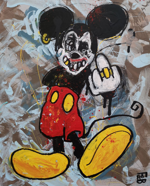 fuckey - Painting,  18.1x15x0.8 in, ©2019 by Frob -                                                                                                                                                                                                                                                                                                                                                                                                                                                                                                                                                                                                                                                                                                                                                                                                                                                                                                                                                                                                                                                                                                                                                                                                                                                                              Street Art, street-art-624, artwork_cat.Fairytales, artwork_cat.Pop Culture / Celebrity, World Culture, Graffiti, Rural life, mickey, mouse, disney, finger, pet, cat, dog, sky, ciel, amor, amour, love, peace, earth, organic, nature, fuck, sea, ocean, mer