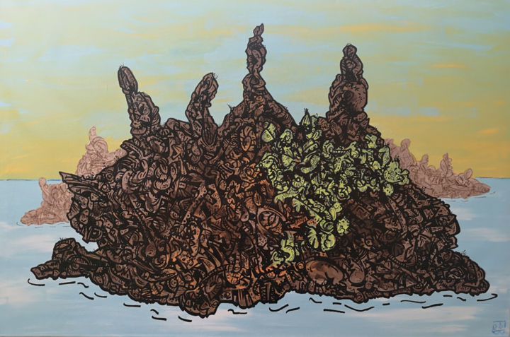 ouessant - Painting,  29.5x45.3x0.8 in, ©2020 by FROB -                                                                                                                                                                                                                                                                                                                                                                                                                                                                                                                                                                                                                                                                                                                                                                                                                                                                                                                                                                                                                                                  Street Art, street-art-624, Colors, Fantasy, Places, Nature, Landscape, island, île, terre, nature, mer, ocean, sea, sky, ciel, cielo, mar, love, amour, liebe, tierra