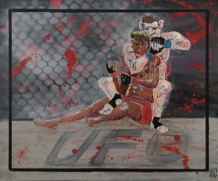 submission - Painting,  18.1x21.7x0.8 in, ©2020 by FROB -                                                                                                                                                                                                                                                                                                                                                                                                                                                                                                                                                                                                                                                                                                                                                                                                                                                                                                                                                                                                                                                                                                                                                                                                                                                                              Street Art, street-art-624, Love / Romance, Fairytales, Men, Nude, Sports, mma, mix martial art, combat, fight, sport, lutte, submission, soumission, submit, blood, sang, sangre, sweat, sueur, bodies, pain, cage, ufc, boxing, boxe