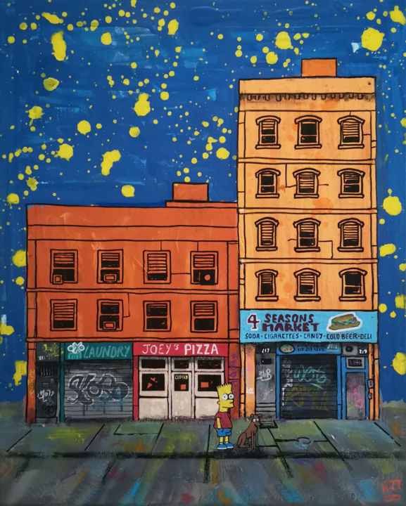 balade nocturne - Painting,  19.7x15.8x0.8 in, ©2020 by Frob -                                                                                                                                                                                                                                                                                                                                                                                                                                                                                                                                                                                                                                                                                                                                                                                                                                                                                                                                                                                                                                                                                                                                                                                                                                                                              Street Art, street-art-624, Comics, Pop Culture / celebrity, World Culture, Cartoon, Cityscape, bart, simpsons, dog, city, stret, nyc, ville, new york, night, nuit, chien, rue, streetart, shops, boutiques, building, bâtiment, archi, architecture, bart simpson