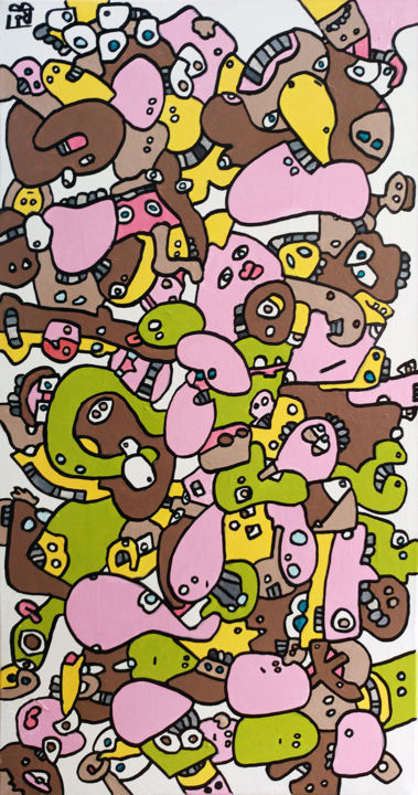 macarons - Painting,  39.4x19.7x59.1 in, ©2016 by Frob -                                                                                                                                                                                                                                                                                                                                                                                                                                                                                                                                              Naive Art, naive-art-948, Comics, People, macaron, crowd, foule, pastel, pastry, patisserie, comics
