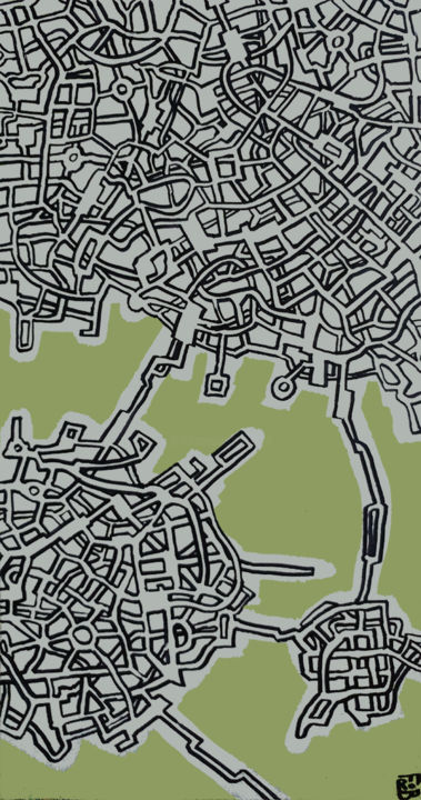 espace vert - Painting,  39.4x19.7x0.6 in, ©2016 by Frob -                                                                                                                                                                                                                                                                                                                                                                                                                                                                                                                                                                                                                                                                                                                                                                                                                                                                                                                                                                                                      Abstract, abstract-570, Architecture, Geometric, Places, Landscape, Science-fiction, connection, route, routes, street, streets, connected, spaceship, vaisseau spatial, linked, relié, cities, maze, green, vert