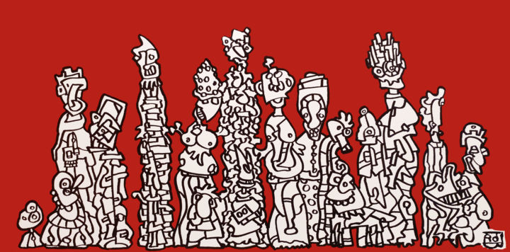 carmillon - Painting,  19.7x39.4x1.2 in, ©2016 by Frob -                                                                                                                                                                                                                                                                                                                                                                                                                                                                                                                                                                                                                                                                                                                                                                                                                                                                                                                                                                                                      Naive Art, naive-art-948, People, personnes, famille, familly, characters, red, vermillon, bec, chien, dog, rouge, groupe, frob, crozon, abstrait, artist, artistique, francais, french