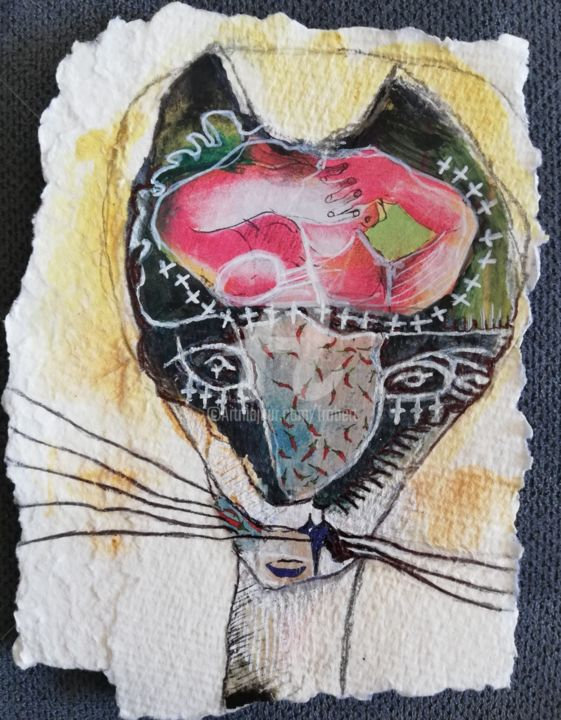 """""""Suture"""" - Collages,  4.3x3.5 in, ©2020 by Christelle Frobert -"""