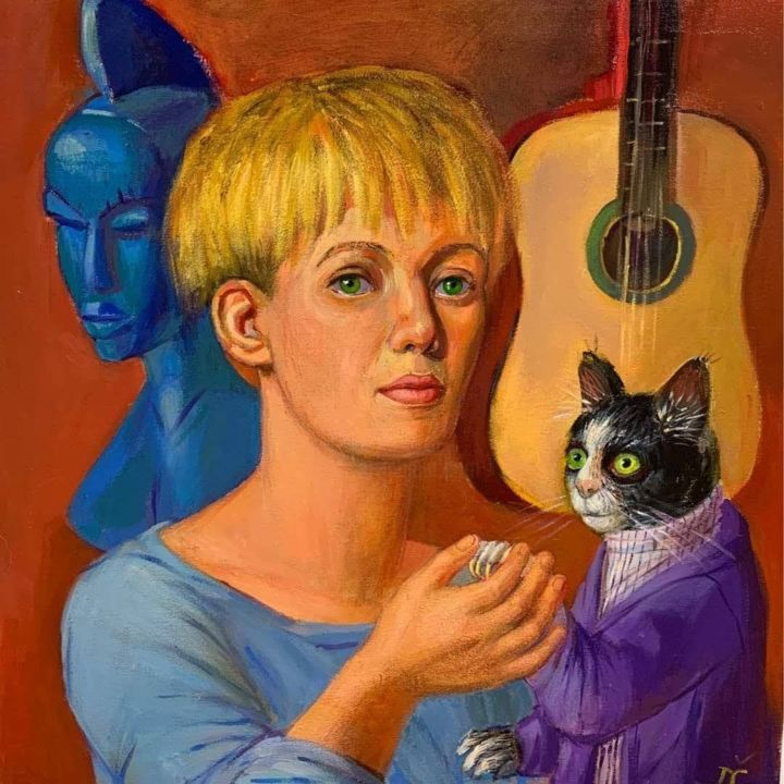 """Painting titled """"Portrait with cat"""" by Dagnia Cherevichnik, Original Art, Acrylic"""