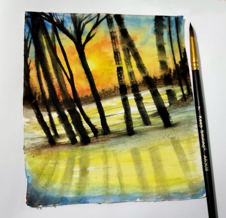 Watercolor painting landscape - Pittura,  4x4x1 in, ©2020 da Fs Preity -                                                                                                                                                                                                                                                                                                                  Abstract, abstract-570, Arte astratta, watercolor, painting, landscape