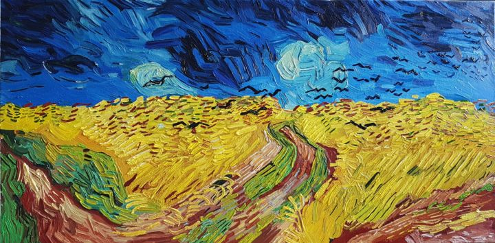Wheatfield With Crows - Van Gogh Hommage, Painting by Robin Funk   Artmajeur
