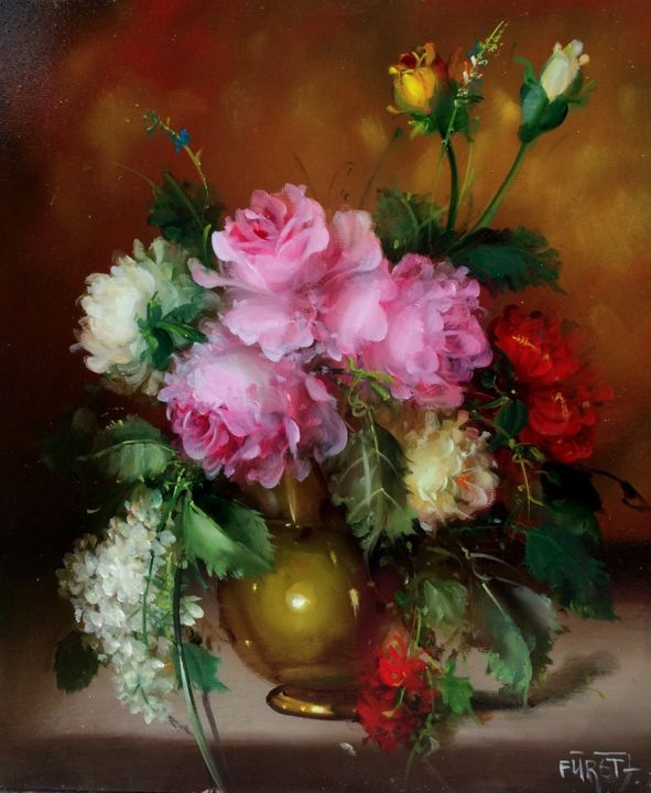 """Painting titled """"Flavour of roses (A…"""" by József Fürst, Original Art, Oil"""
