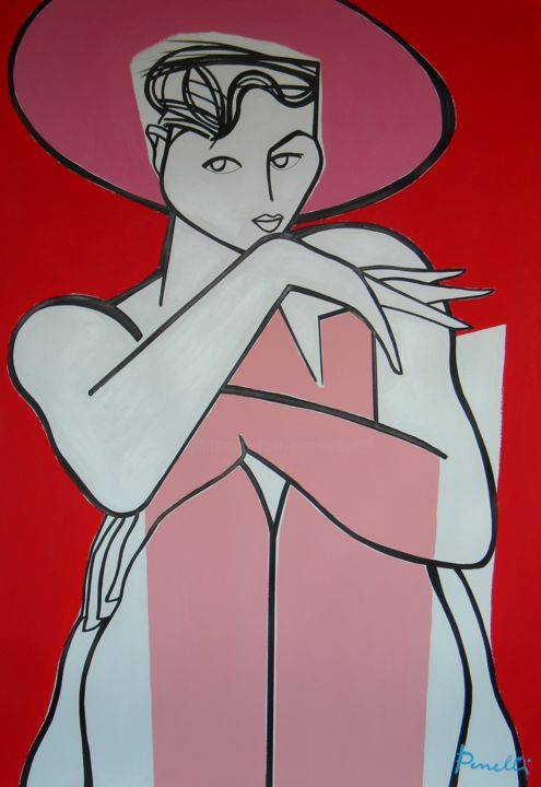 """Painting titled """"Portrait of Stefania"""" by Gabriele Donelli, Original Art, Acrylic"""