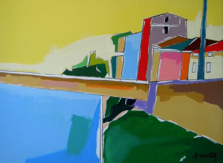 Paesaggio - Painting,  22.1x29.9 in, ©2014 by Gabriele Donelli -