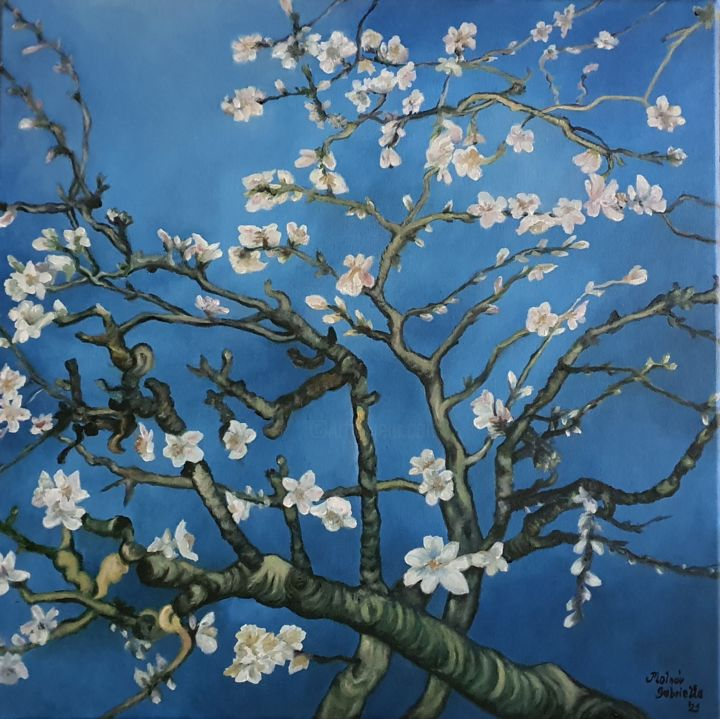 """Painting titled """"Blossoming Almond T…"""" by Gabriella Osvaldné Molnár, Original Art, Oil Mounted on Stretcher frame"""
