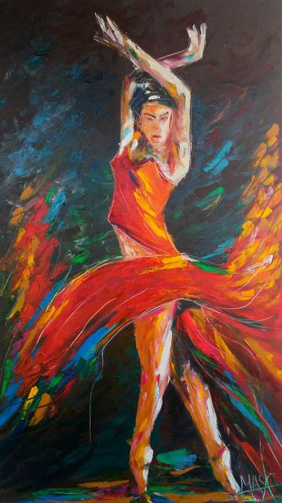 Copia de bailarina .jpg - Painting,  31.5x23.6 in, ©2018 by Gabriel Mayo -                                                                                                                          Expressionism, expressionism-591