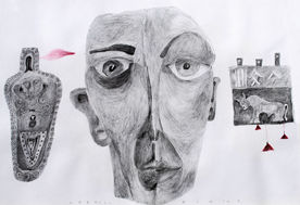 """Drawing titled """"Masks"""" by Gabriel Mihalache, Original Art, Other"""