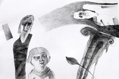 """Drawing titled """"The Lady, the Monk…"""" by Gabriel Mihalache, Original Art, Other"""