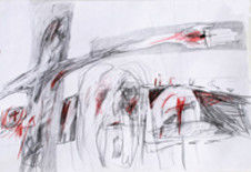 """Drawing titled """"Crucifixion"""" by Gabriel Mihalache, Original Art, Other"""
