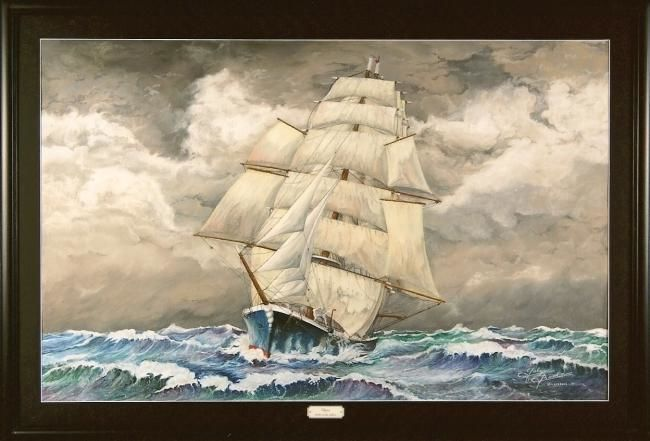 Clipper toutes voiles dehors - Drawing,  110x70 cm ©2011 by Gaby Bourlier -