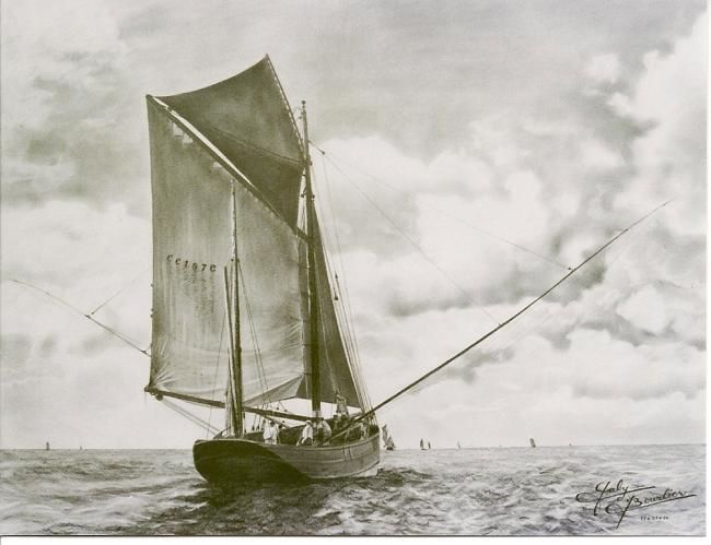 Dundee en route avec toute sa toile - Drawing,  19.7x25.6 in, ©2011 by Gaby Bourlier -