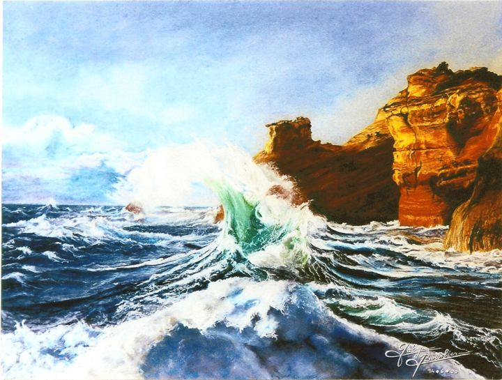 Vague d'Emeraude - Drawing,  19.7x25.6x0.4 in, ©2003 by Gaby Bourlier -