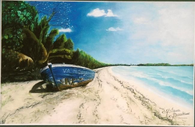 Epave sur le rivage - Drawing,  12.6x19.7 in, ©2003 by Gaby Bourlier -