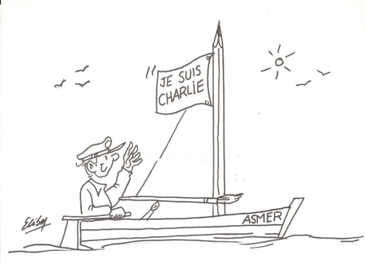 ASMER - Drawing, ©2015 by Gaby Bourlier -                                                              JE SUIS CHARLIE