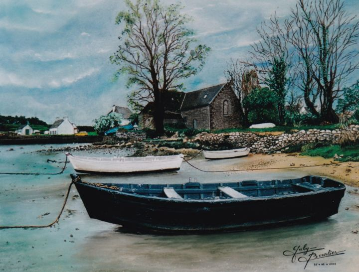 Saint-Philibert - Drawing,  50x65 cm ©2002 by Gaby Bourlier -                                                            Figurative Art, Paper, Seascape, Saint-Philibert