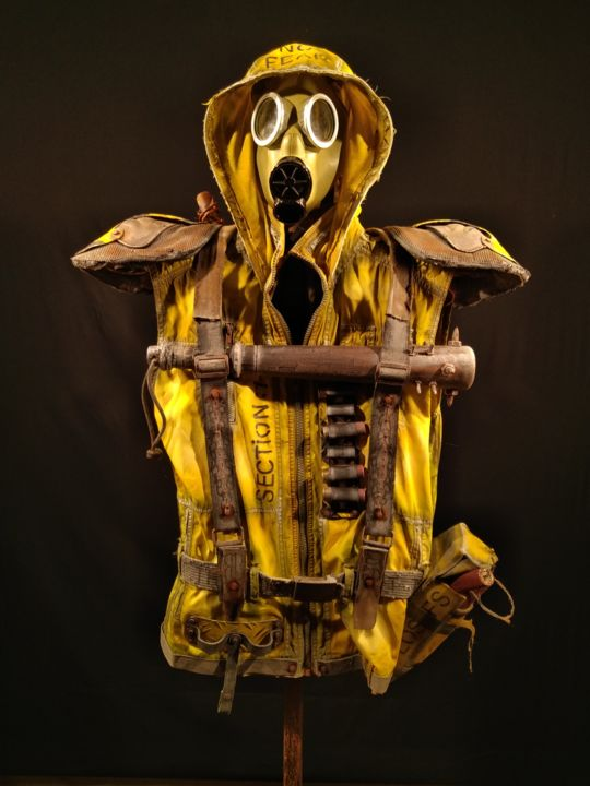 """Yellow Jacket"" man - Full Garment - Sculpture,  70.1x29.9x13.8 in, ©2019 by Gad The Brand -                                                                                                                                                                                                                                                                      Hyperrealism, hyperrealism-612, Politics, gilets jaunes, manifestations"