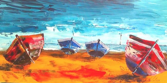 barques - Painting,  15.8x31.5 in, ©2009 by Jean-Louis Gaillard -                                                                                                                                                                                                                                                                      Figurative, figurative-594, Boat, barques, plage