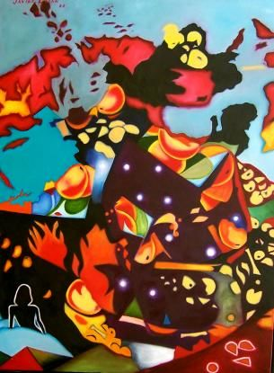 """Painting titled """"Ferty Cycles"""" by Javier Galan, Original Art,"""