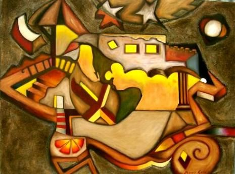 """Painting titled """"Ecliptic's house"""" by Javier Galan, Original Art,"""
