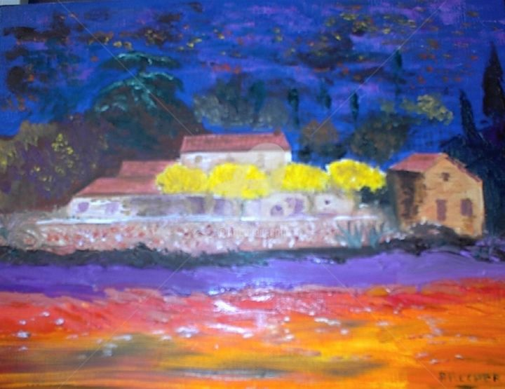 Le Mas du Soleil - Painting,  27x35x3 cm ©2015 by Arlette Flécher -                                                                                                                                                Figurative Art, Impressionism, Canvas, Tree, Architecture, Colors, Garden, Light, Home, Landscape, mas du soleil, mas de provence, maison de campagne haut var, saint maximin, la sainte baume, la sainte victoire, campagne d'aix, trets, fuveau, belcodène, la bouilladisse, villa de provence, côte d'azur, côte varoise, french riviera