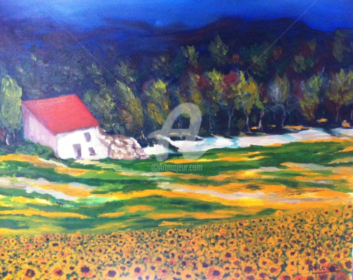 Cabanon aux tournesols - Painting,  60x72x3 cm ©2016 by Arlette Flécher -                                                                                                Figurative Art, Canvas, Colors, Light, Nature, Cityscape, village de Provence, village provençal
