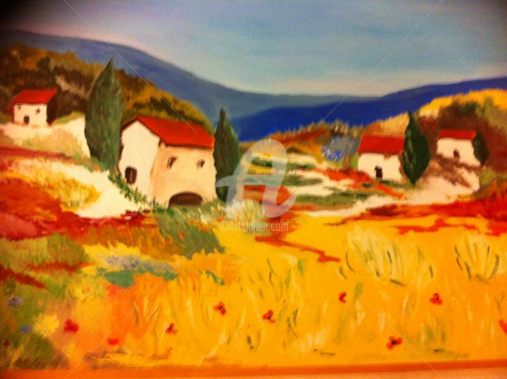 Paysage de Provence - Painting ©2016 by Arlette Flécher -                                        Figurative Art, Canvas