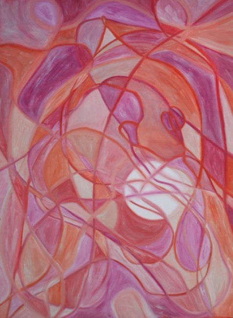 ROUGE LUNAIRE - Painting,  80x65 cm ©2011 by Marina Hugues -                            Expressionism, lune