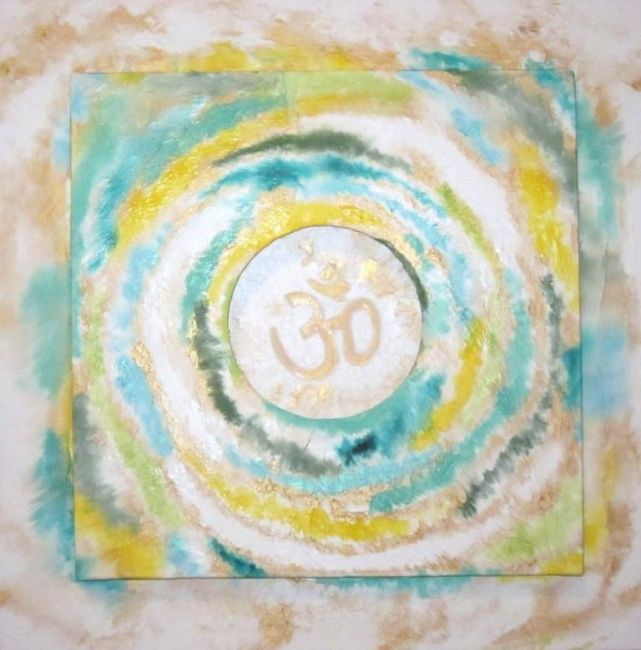 OM - Painting,  40x40 cm ©2013 by Marina Hugues -                            Expressionism, OM