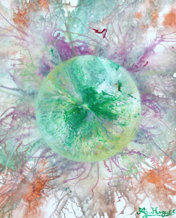 SOLEIL VERT - Painting,  23.6x19.7 in, ©2013 by Marina Hugues -                                                                                                                                                                                                                                                                  Abstract, abstract-570, Soleil Vert, Marina Hugues, Expressionnisme abstrait