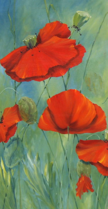 coquelicots - Painting,  39.4x19.7 in, ©2010 by Patricia Blanchet -                                                                                                                                                                                                                          Figurative, figurative-594, Flower, fleurs