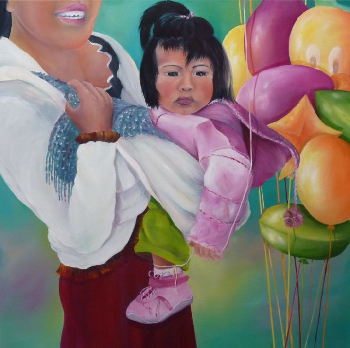 enfant aux ballons - Peinture,  31,5x31,5 in, ©2011 par Patricia Blanchet -                                                                                                                                                                                                                                                                                                                                                              Figurative, figurative-594, artwork_cat.Kids, enfant, ballon, Mexique, maternité