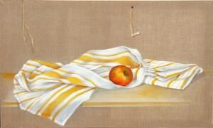 2 torchons et pomme - Painting, ©2009 by Patricia Blanchet -