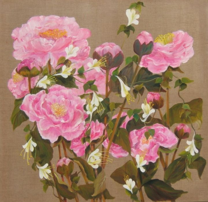 pivoines - Painting, ©2013 by Patricia Blanchet -